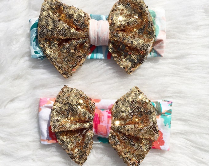 Sparkle bows on floral knit baby headband, sparkle bow, birthday headband, big headband