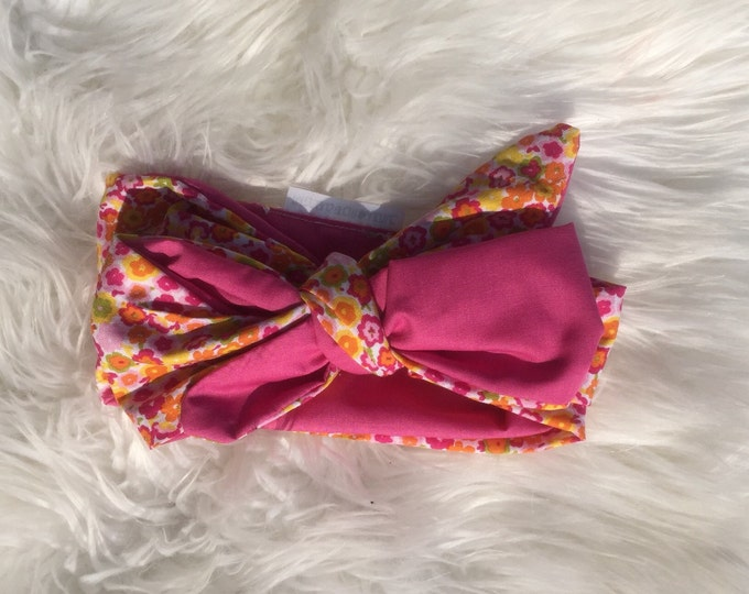 floral and pink contrast headwrap