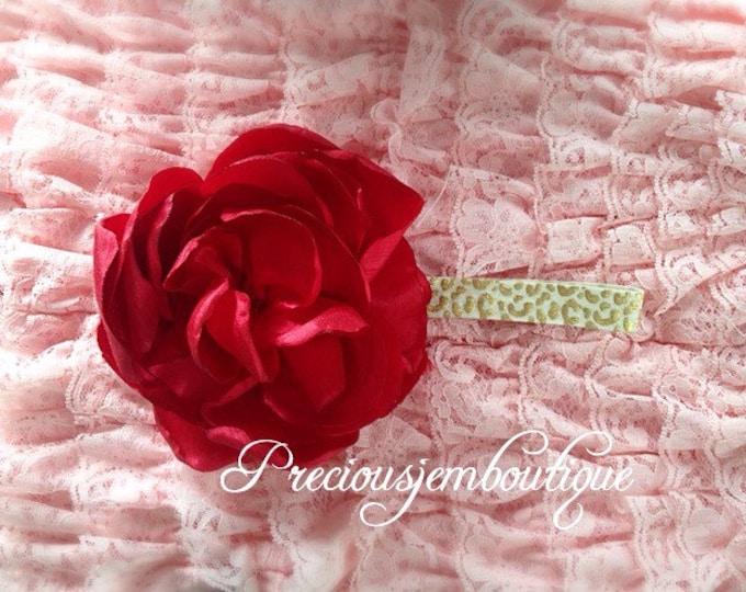 Huge flower headband pink flower on leopard elastic
