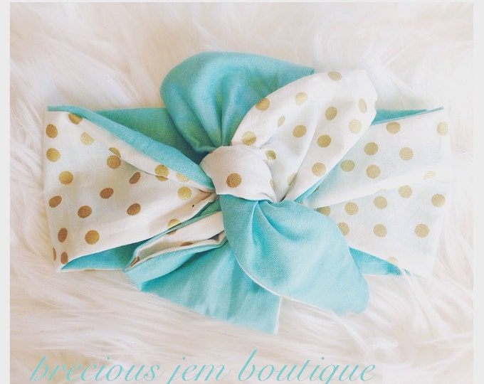 Sparkle JEM gold polka dot and aqua contrast headwrap