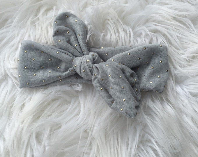 Grey and gold dot knot headwrap