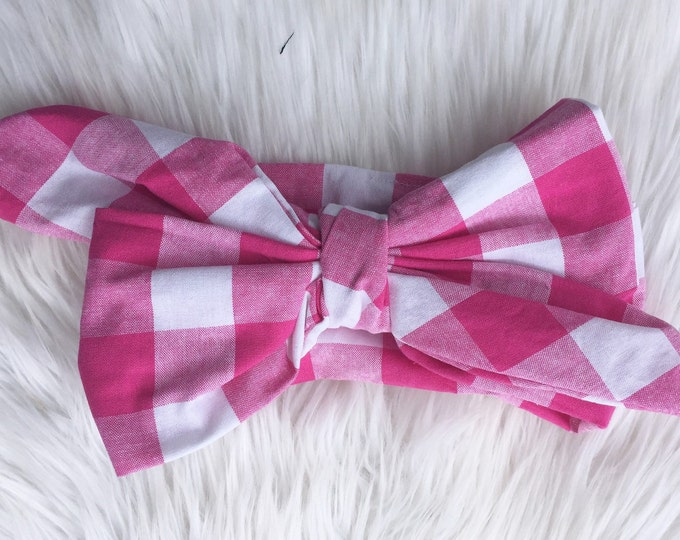 pink and white gingham headwrap
