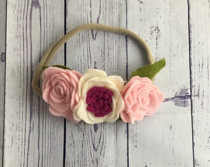 Magenta pink and cream Felt rose flower headband / felt flower crown / nylon headband / baby flower headband / toddler flower headband