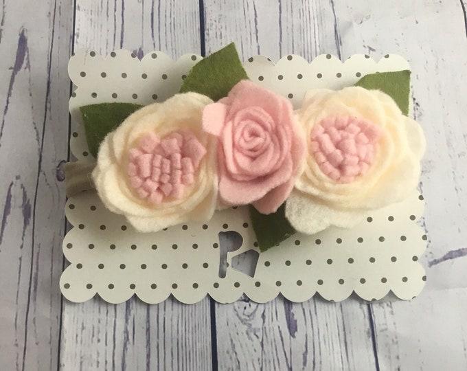 pink and cream Felt rose flower headband / felt flower crown / nylon headband / baby flower headband / toddler flower headband