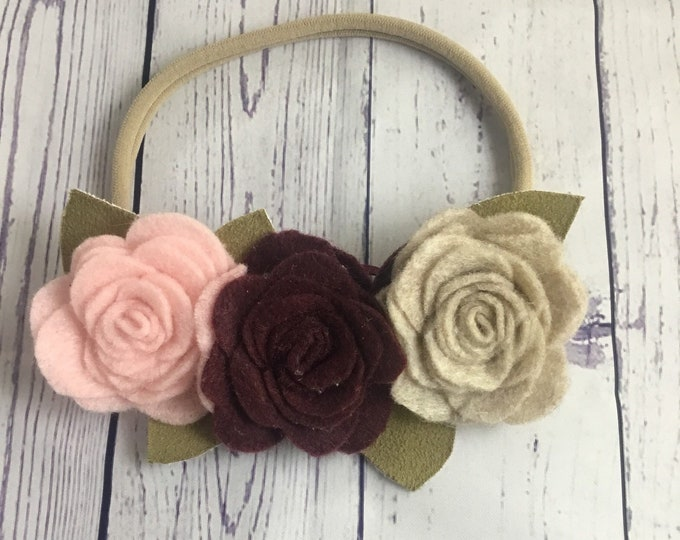 Burgundy pink and sandstone Felt rose flower headband / felt flower crown / nylon headband / baby flower headband / toddler flower headband