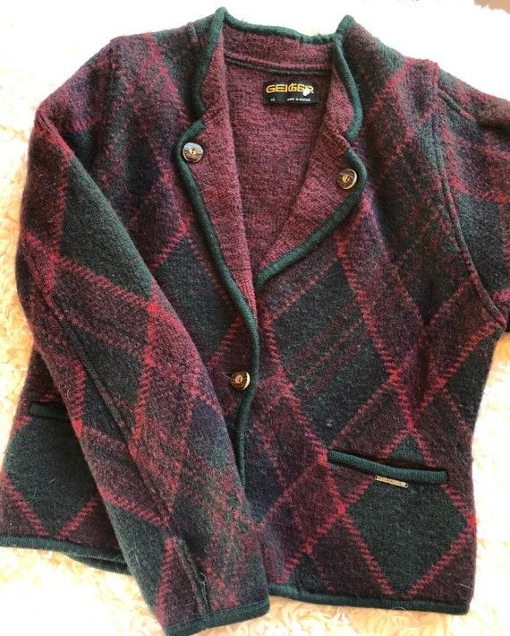 Vintage GEIGER plaid sweater plaid coat plaid jack