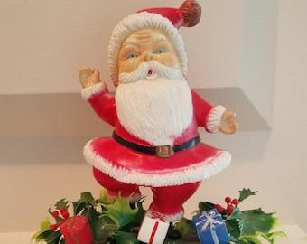 "Vintage Plastic Santa Claus ""Merry Christmas"" Decoration"