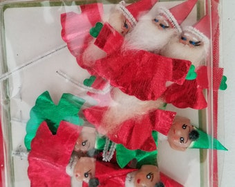 Vintage Santa and Elf Pipe Cleaner Tags