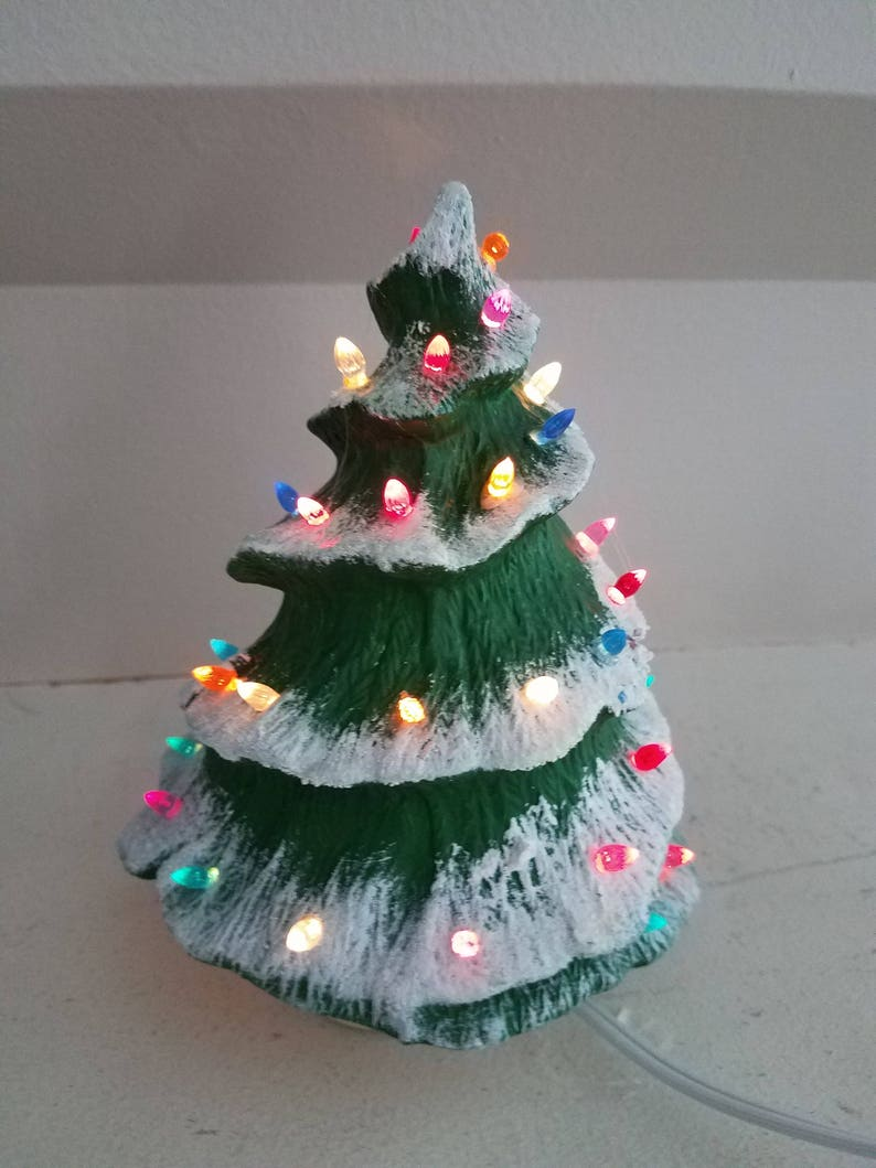Vintage 7 Greenware Ceramic Christmas Tree