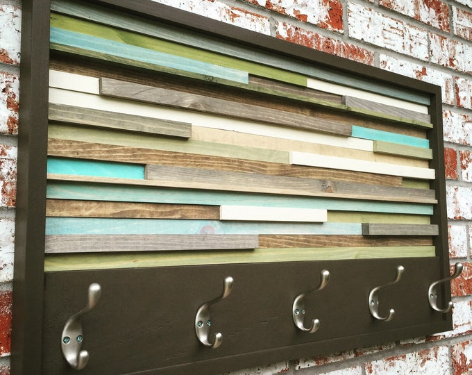 Coat Rack - Hooks -  Wall Mount - Wood Wall Art - Wood Art - Reclaimed Wall Art - 18x30