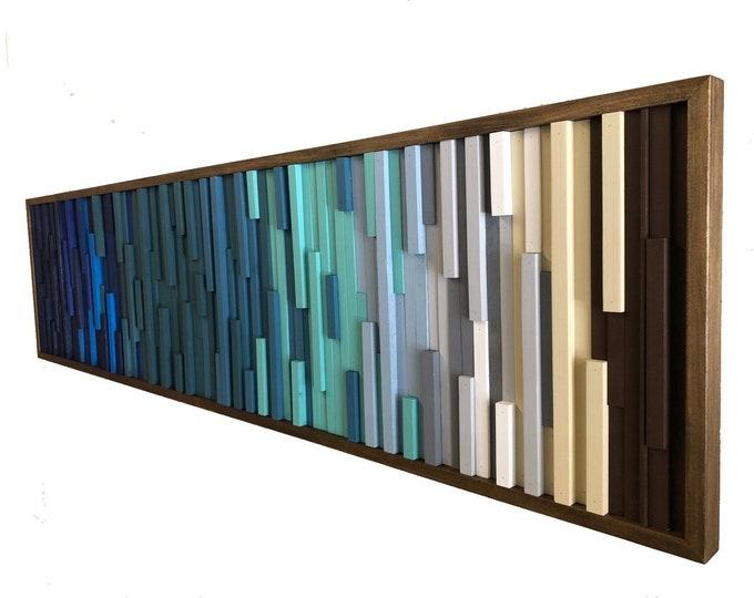 Wood Wall Art,  Extra Large Wall Art, Modern Wood Sculpture, Modern, 3D Art, Headboard, Ocean, Coastal, Ombre