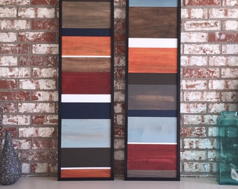 Wood Wall Art - Wood Art - Reclaimed Wood Art - Color Block Collection - 16x40 set