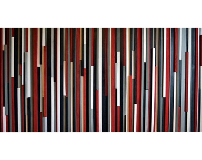 Wood Wall Art Wood Sculpture - 3D Art - Recycled Wood Art - Large Wall Art - Red, Black, Gray & White - 36x72