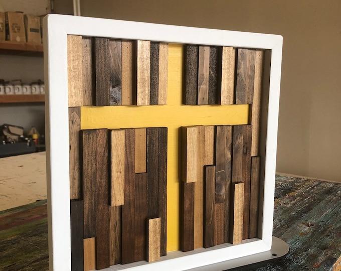 Wood Wall Art - Wall Art Cross - Small Wall Art - Confirmation Gift - Baptism Gift - 12x12