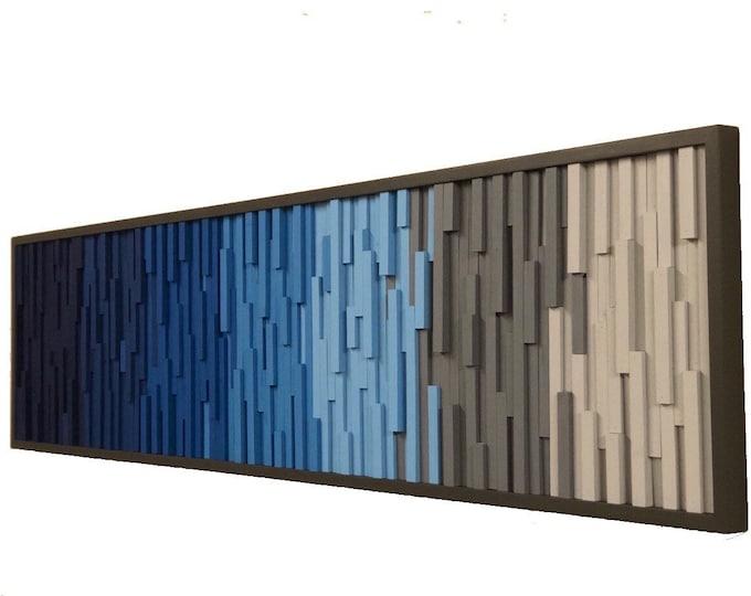 Wood Wall Art Large, Wall Art,  Wood Sculpture,  Modern Wall Art, Modern Reclaimed Wood, 3D Art, Headboard, Ocean, Coastal 72x18