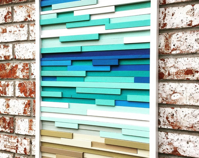 Wall Art - Wood Wall Art -  Wood Sculpture - Modern Reclaimed Wood - Ocean Coastal 20x40