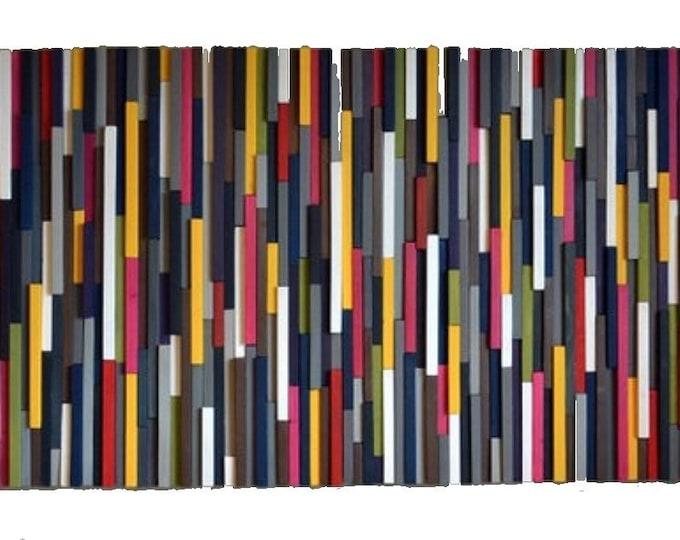 Wood Wall Art, Wall Art, Colorful Art, 32x70