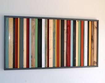 Wood Wall Art - Wood Art - Reclaimed Wood Wall Art - Stripes 24X48