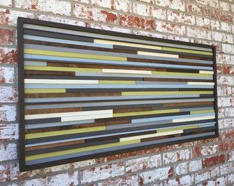 Wood Wall Art - Reclaimed Wood Art Sculpture - Modern Wall Art/Abstract Painting on Wood - 3D Art - 48x24