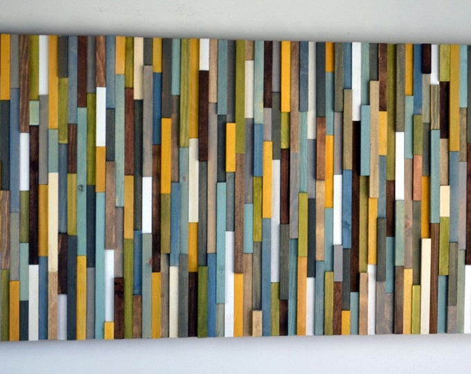 Wood Wall Art - Wood Sculpture - Abstract Painting on Wood - Custom Colors - 24x48