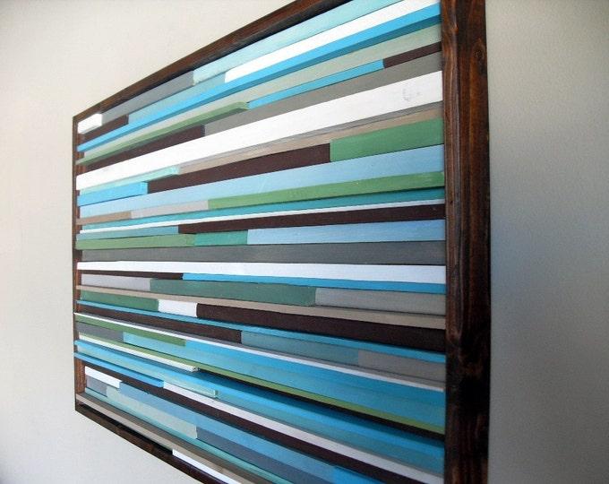 Wood Wall Art - Blue Wall Art - Living Room Wall Art - 18x30