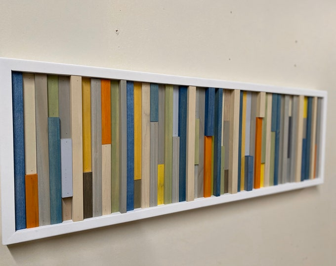 Wood Wall Art - Abstract Acrylic Painting on Wood - 3D Art - Reclaimed Wood Art - 12x36