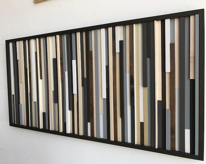 Wood Wall Art - Reclaimed Wood Art Sculpture - Modern Wall Art - Home Decor  - Painting on Wood - 3D Art - Wood Wall Hanging  - 24x48