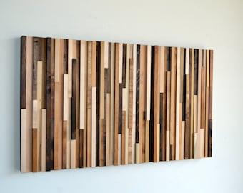 Wood Wall Art - Wood Art - Reclaimed Wood Art - Wall Installation 24X40