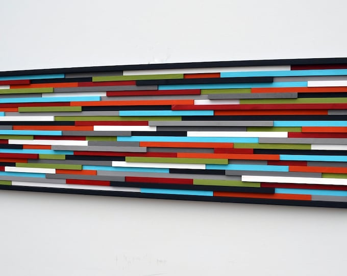 Abstract Painting on Wood - Modern Wood Sculpture Wall Art 20X60 or 20x40