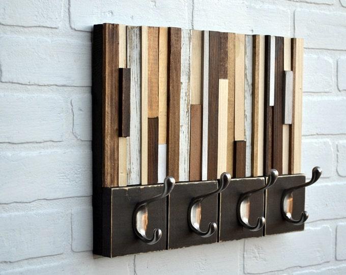 Coat Rack - Hooks - Wall Mount - Hang Keys and Dog Leashes - Reclaimed Wood Coat Rack - 14x11
