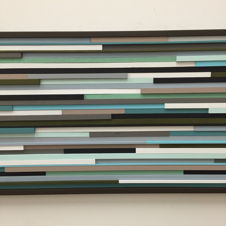 Modern Wood Sculpture Wall Art  Lines  24 x 48 image 0