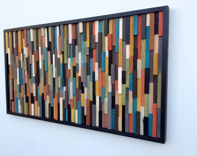 Wood Wall Art Large - Wood Art Sculpture - Reclaimed Wood Art - Modern Wall Art - 3D art - Abstract Painting on Wood - 24x48