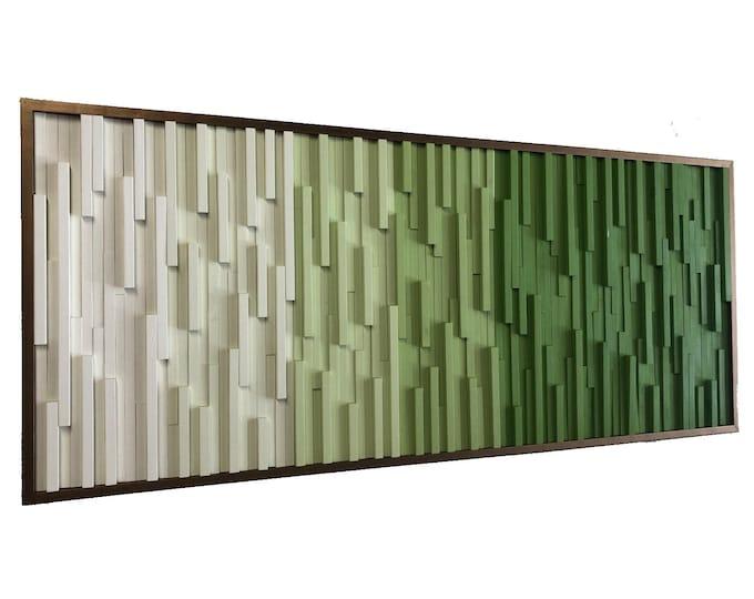 Wood Wall Art - Wall Art -  Wood Sculpture -  Large Wall Art - 3D Art - Headboard - Green Art - Gradient Art -  Ombre Art - 66x28