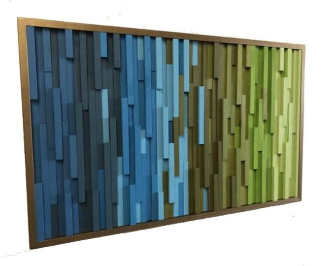 Wood Wall Art - Wall Art -  Wood Sculpture -  Large Wall Art - 3D Art - Headboard - Green Art - Gradient Art -  Ombre Art - 40x24