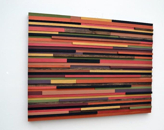 Wood Wall Art - Wooden Art Wall Sculpture - Reclaimed wood - Abstract Sculpture - 48x36