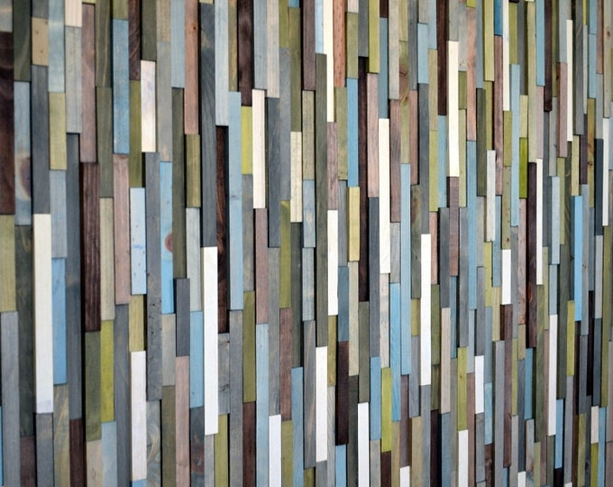 Wood Sculpture Queen Headboard or Wall Art - Skinny Rectangles - 36 x 65