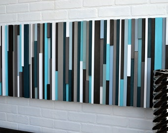 Abstract Painting on Wood -  Wood Wall Art - Reclaimed Wood Art - Wall Art Sculpture 20X60
