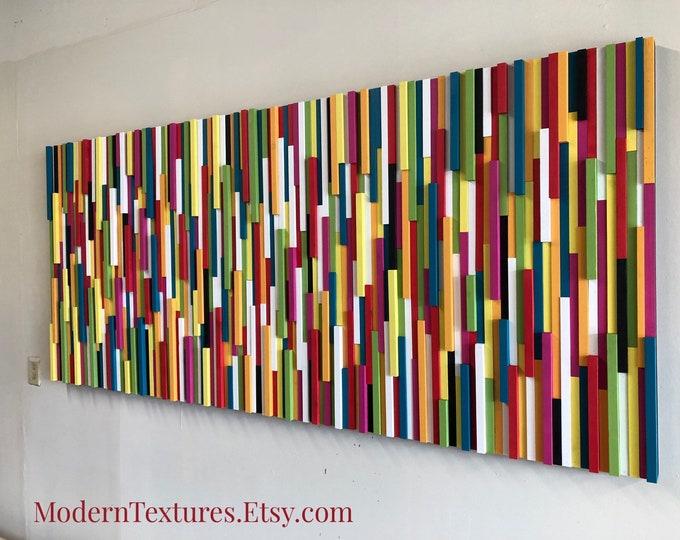 Wood Wall Art - Wood Art - Modern Wood Sculpture - 3D Art - Commercial Art - Extra Large Art - Colorful Art - Vibrant Happiness - 80x36