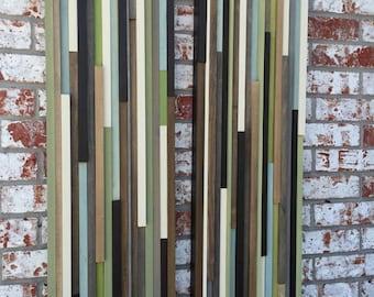 Wood Wall Art - Wood Art - Reclaimed Wood Art - 12x36 Set - Earthy Neutrals