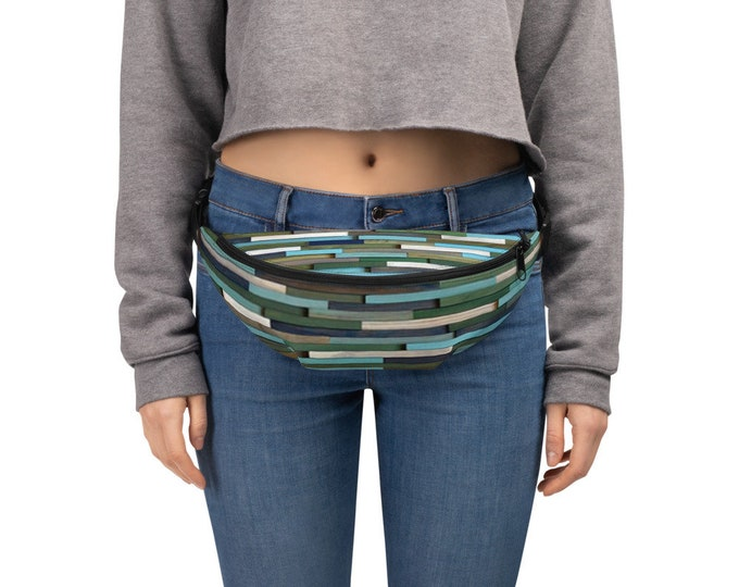 Fanny Pack Pattern Modern Abstract Pattern by Modern Textures Red and White Fanny Pack