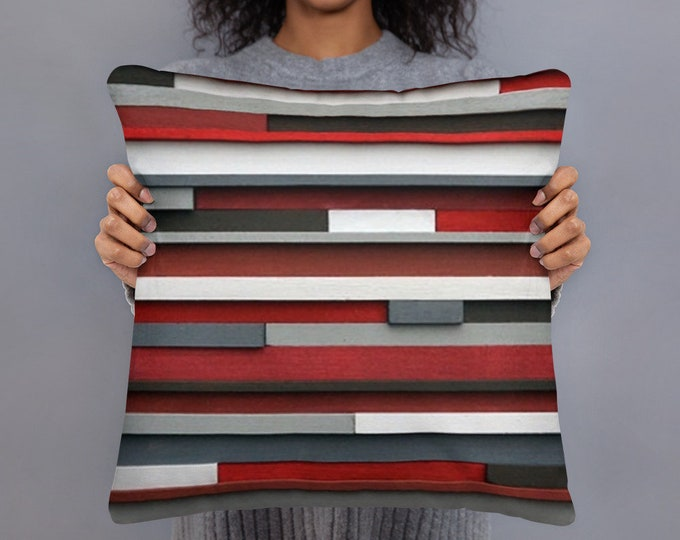 Red and White Pillow Art Inspired by Modern Textures, Housewarming  Gift, Gifts for Her Girts for Him