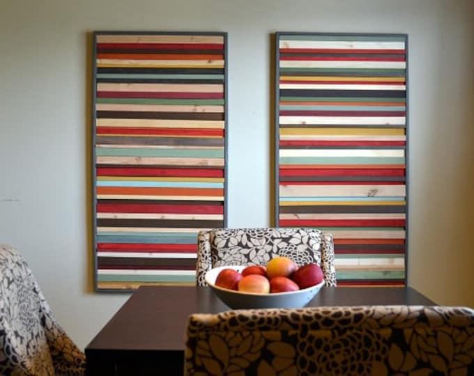 Wall Art Set,  Wood Wall Art, Living Room Art, 24x48