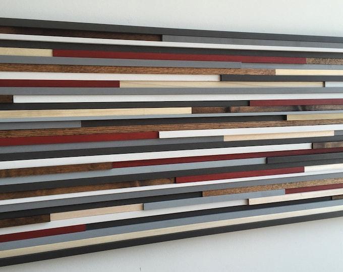 Wood Wall Art - Reclaimed Wood Art Sculpture - Modern Wall Art - Abstract Painting on Wood - 18x46