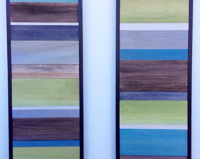 Wood Wall Art - Wood Art - Reclaimed Wood Art - 2 Piece Wall Art - Modern Wall Art - 16x40