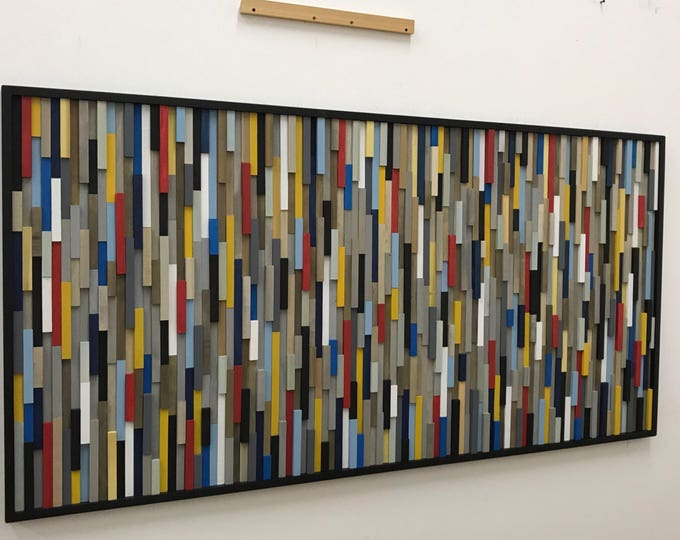Wood Wall Art Large, Abstract Painting on Wood,  Modern Wood Sculpture, Wall Art, 3d Art,  72x36, Bright Colors Wall Art