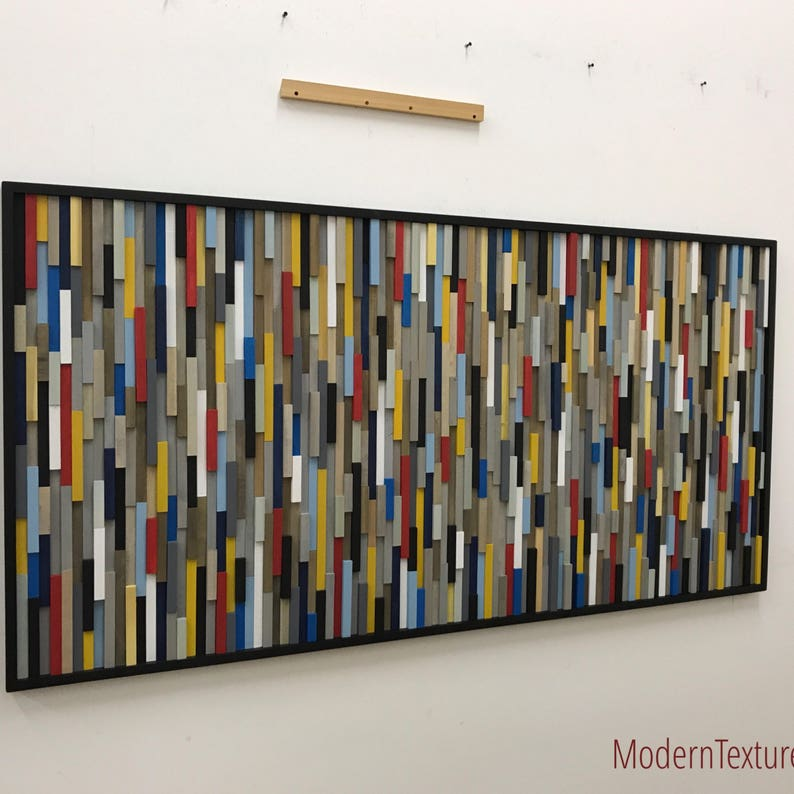 Wood Wall Art Large Abstract Painting on Wood  Modern Wood image 0