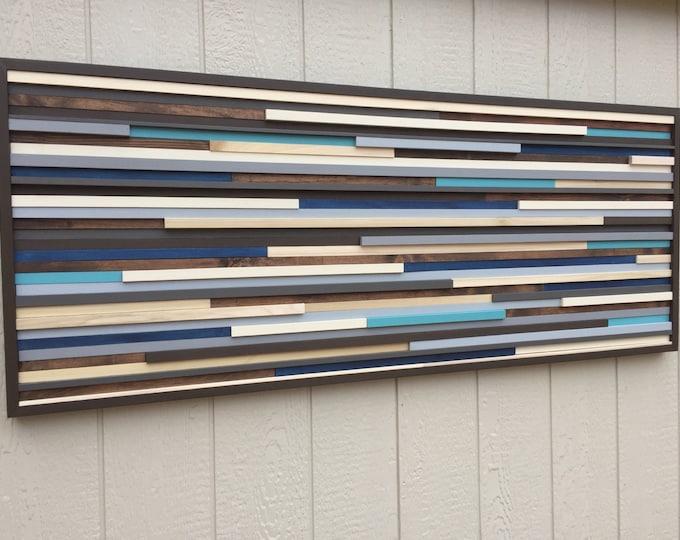Wood Wall Art, Large Wall Art, Living Room Wall Art, Blue Wall Art
