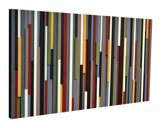 Wood Wall Art - Modern Wall Art - Wood Sculpture - Abstract Painting on Wood - 24x48