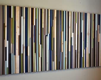 Wood Wall Art, Extra Large Wall Art, Living Room Art, 32x70