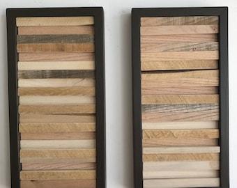 Wood Wall Art - Wood Sculpture Wall Art - Reclaimed Wood Art -  8 x 16 - Framed  - Set